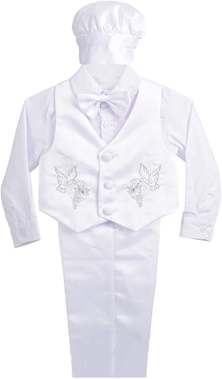Dressy Daisy Baby Boy Satin Baptism Clothes Christening Outfit with Bonnet 5 Pieces Set Formal White Suit for Infant