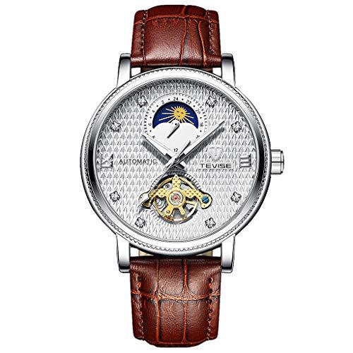 yotijar Reloj Mecánico de 1 Pieza para Hombre, Relojes Mecánicos para Hombre, Clásico - Blanco marrón