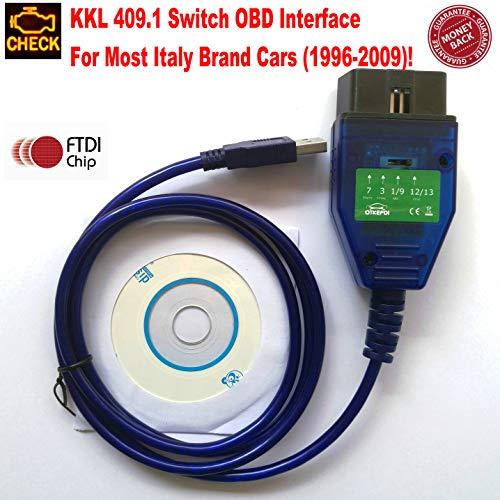 OTKEFDI KKL 409.1 Interfaz de diagnóstico OBD con Interruptor KKL 409.1 Herramienta OBD2 para la mayoría de los automóviles de Marca de Italia Desde 1996 hasta 2009