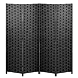 Room Divider 6FT Wall Divider Wood Screen 4 Panels Wood Mesh Hand-Woven Design Room Screen Divider Indoor Folding Portable Partition Screen,Black