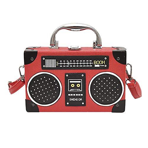 VFJLR Bolso de Mujer Cámara de Radio Patrón Bolsas de asa Bolso de Hombro de Cuero Crossbody Box Bolsos Bolso Harajuku Bolso Rojo