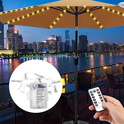 HYDDG Verbesserte Terrassen-Regenschirm-Lichter, 104 LED-Sonnenschirm-Lichter, 8 Modi, wasserdichte Garten-Lichterkette mit Fernbedienung für Regenschirm, Balkon, Hinterhof Outdoor Indoor