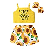 Niños de Verano Baby Girls Ropa Pequeña señorita Sassy Pantalones Imprimir Chaleco Camisetas sin Mangas Pantalones Cortos Florales Conjunto con Diadema 3pcsutfits Set