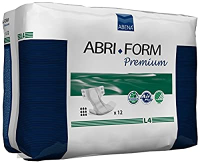 Abena Abri-Form Premium L4, All-In-One, Hip/Waist Size 100-150 cm, 4000 ml Absorbency, Pack of 12