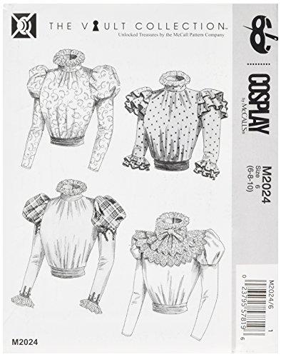Cosplay door McCall's Puff-Sleeve Blouse/Sash en afneembare gegolfde kraag, meerkleurig,