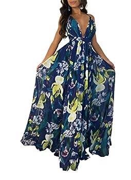 Remelon Womens Sexy Spaghetti Strap Deep V Neck Floral Boho Criss Cross Backless Chiffon Beach Party Long Maxi Dress Navy XL