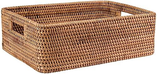 FCPLLTR Cesta de almacenamiento rectangular grande de ratán pan de mimbre de la barra de la fruta de la mesa de comida de servicio de vegetales tejida