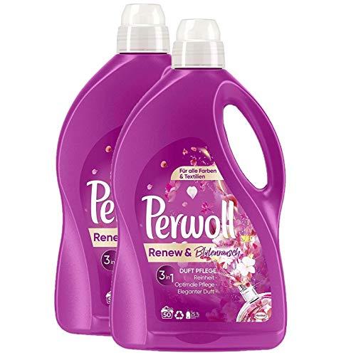 Perwoll Waschmittel Renew und Blütschrausch 100 (2x50) Waschladungen 3 in 1 Duft Pflege