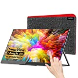 InnoView 4k Portable Monitor Touchscreen - 14 Inch Auto-Rotating Freesync Touch Screen Monitor, Ultra-Slim Second Screen Frameless Bezel Glass Hd UHD IPS 3840x2160 Dual USB C Laptop Monitor.
