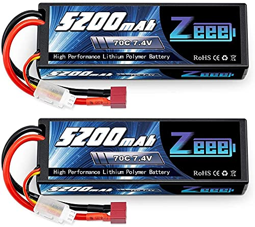 Zeee 2s lipo Batterie 5200mAh 7,4V 70C RC Batterie, avec connecteur Deans T Fiche, pour RC Evader BX Auto Car Truck LKW Truggy RC Hobby (2 Paquets)