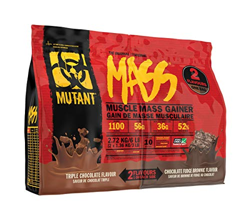 MUTANT Mass Weight Gainer, Protein Blend, for High-Calorie Workout Shakes, Smoothies and Drinks (Triple Chocolate & Chocolate Fudge Brownie, 2.72kg)