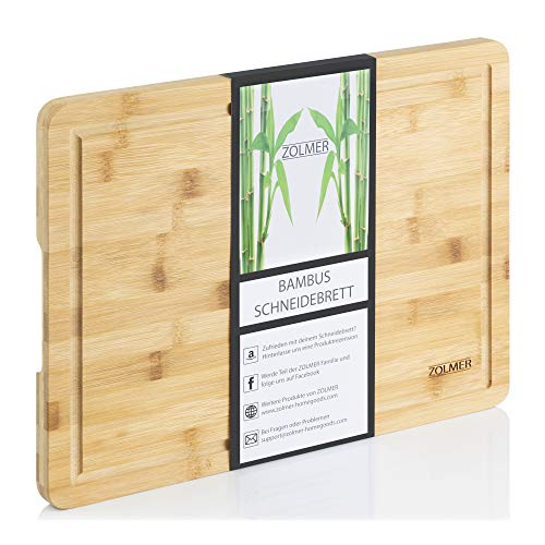 Zolmer® Tabla de cortar de madera de bambú – 40 x 30 x 2 cm – Tabla de cortar de alta calidad – Práctica y estable – Chopping Board