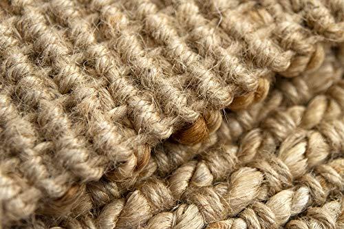HAMID Juteteppich - Giralda Teppich 100% Natürliche Jutefaser - Weicher Teppich und Hohe Festigkeit - Handgewebt - Wohnzimmer, Esszimmer, Schlafzimmer, Flurteppich - Natürlich (170x120cm) - 4
