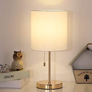 Desk Lamp, Gold Table Lamp, Modern Metal Lamps with White Fabric Shade for Bedroom College Dorm Bookcase Bedside Nightstand Dressers