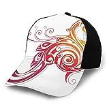 FULIYA Gorra de béisbol lisa lavada, diseño de pájaro legendario con alas remolinadas mística renacer varias vidas, diseño retro ajustable, regalo para hombres y mujeres