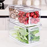 iPEGTOP Fridge Produce Saver Food Storage Bin Containers, Stackable Refrigerator Freezer Organizer Fresh Keeper Container with Vented Lids, 3 Pack