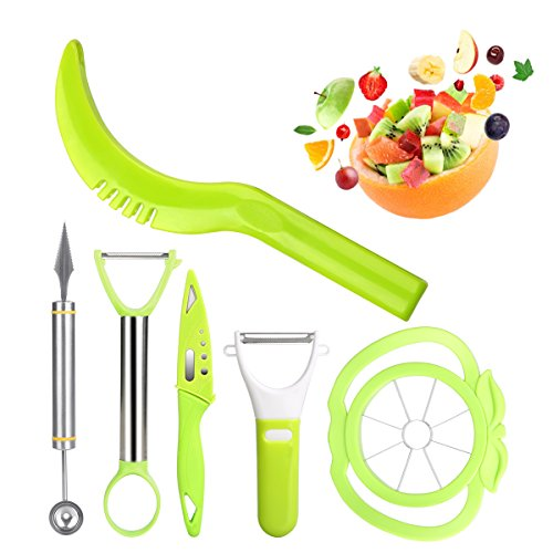 6-in-1 Fruit Slicer Set by LovelyHome - Watermelon Slicer, Melon Baller Scoop, Fruit Carver, Apple Corer, Peeler,Knife Perfect for All Kind of Fruit Salad DIY