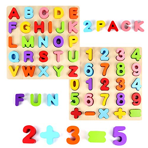 Alphabet Puzzle, WOOD CITY ABC Letter & Number Puzzles for Toddlers 1 2 3 Years Old, Preschool Learning Toys for Kids, Educational Name Puzzle Gift for Boys and Girls