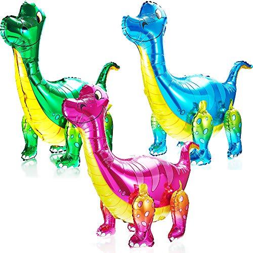 Gejoy 3 Stück 3D Dinosaurier Luftballons Folien Dinosaurier Luftballons Stehende Dinosaurier Luftballons für Dinosaurier Dschungel Themen Geburtstag Baby Dusche Party Dekoration Versorgung
