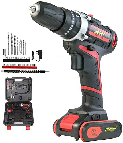 Cordless Drill Driver, 21V Power Hammer Drill, Variable Speed & Built-in LED Electric Screw Driver with 1x1500mAh Batteries (Drill Drivers)