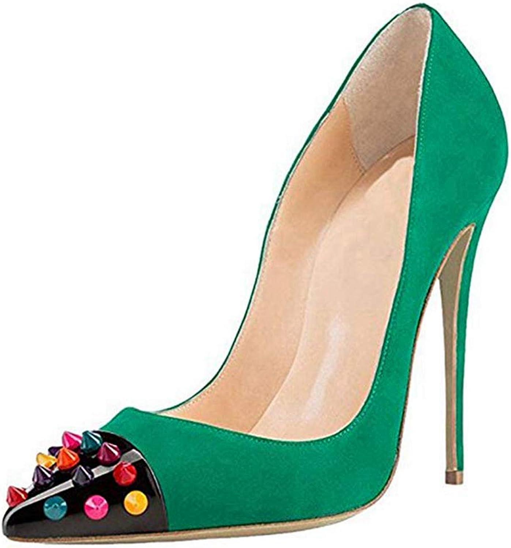 Ladies High Heel Sandal Purple Pointed Toe Sandals Party colors Rivets Women Stiletto Pump