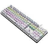 Mechanical Keyboard LED Backlit Retro Typewriter USB Keyboard -Blue Switch - Retro Style