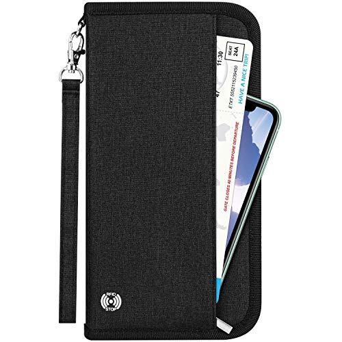 Newdora Reisebrieftasche Reisepass Tasche Familie Reiseorganizer mit RFID-Blocker, Tragbare Reisepasshülle Pass Etui Passport Hülle Ausweistasche Dokumente Organizer für Damen und Herren, Schwarz