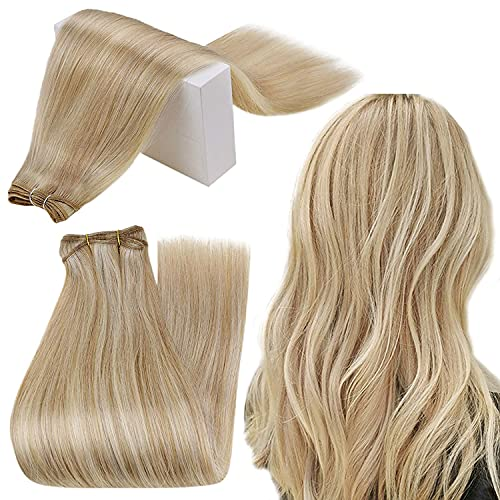 RUNATURE Sew in Hair Extensions Real Human Hair Honey Blonde Highlighted Weft Hair Extensions 100g Thick Hair Sew in Wefts 12 Inch