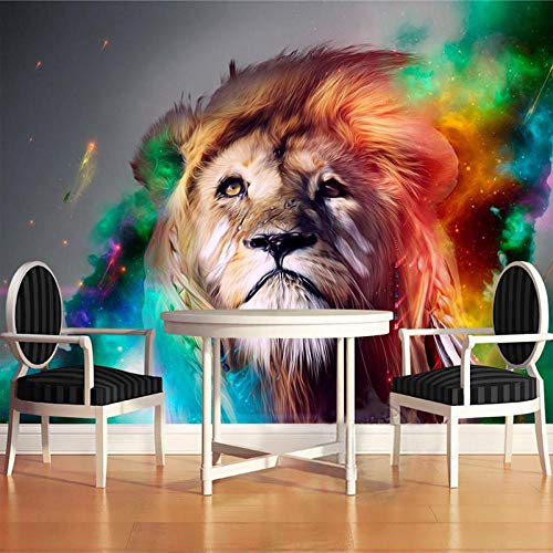 VGFGI Mural 3D Pvc impermeable autoadhesivo papel tapiz de vinilo diseño colorido León Fondo pared papel tapiz decoración del hogar