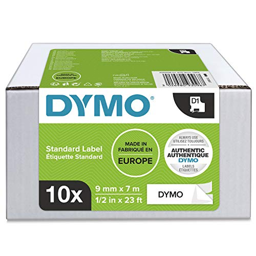 DYMO D1-Etikettenband Authentisch | 9mmx7m | Rolle | schwarzer Druck auf weißem Untergrund | selbstklebendes Schriftband | für LabelManager-Beschriftungsgerät | 10Etiketten