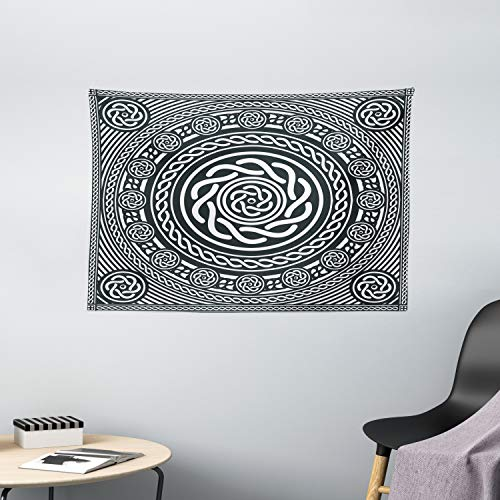 Ambesonne Celtic Tapestry, Irish Circular Design Clockwise Twisty Spiral Lines Insular Art, Wide Wall Hanging for Bedroom Living Room Dorm, 60' X 40', Blue White