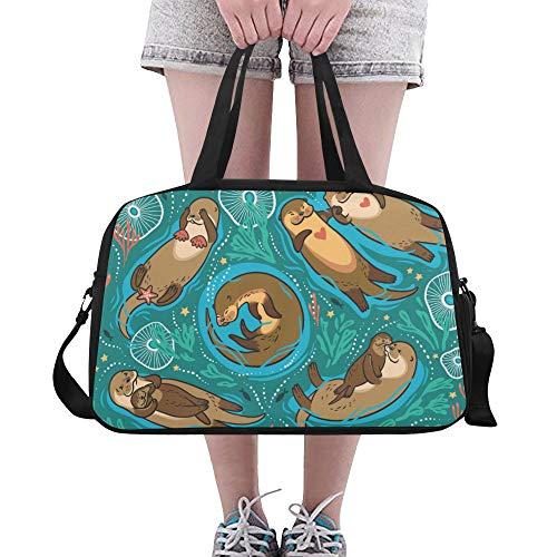 LMFshop Large Travel Duffel Cartoon Cute Funny Slowly Animal Otter Yoga Gym Totes Fitness Handbags Duffel Bags Shoe Pouch For Sport Luggage Womens Outdoor Gym Duffel Bag