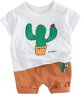 Conquro Ropa Conjuntos para bebé niño,Camiseta de Manga Corta con Top de Cactus para niños + Shorts Estampados, Dos Piezas...