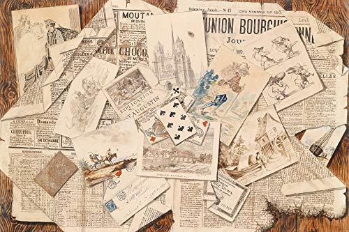1art1 Zeitungen - Französische Zeitungs-Collage Mit Postkarten, Vintage Style XXL Poster 120 x 80 cm