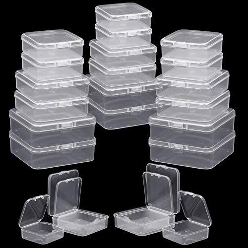 BELLE VOUS Contenedor de Abalorios (Pack de 54) - Cajas de Almacenamiento con Tapa Plástico Cuadrada - 3 Tamaños Diferentes para Almacenar Hallazgos de Joyas, Lentejuelas y Pequeñas Artículos