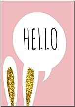 ZJMI Impresión De Lienzo,Baby Girl Vivero De Impresión De Póster Lienzo Arte De Pared Rosa Pintura Conejo De Dibujos Animados Imagen De Decoración Nórdica Kids Decoración del Dormitorio,50 * 70Cm Sin