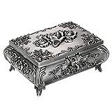 Sumnacon Caja de joyería de metal vintage para anillos, collares, pendientes, joyas, caja de almacenamiento rectangular de plata envejecida