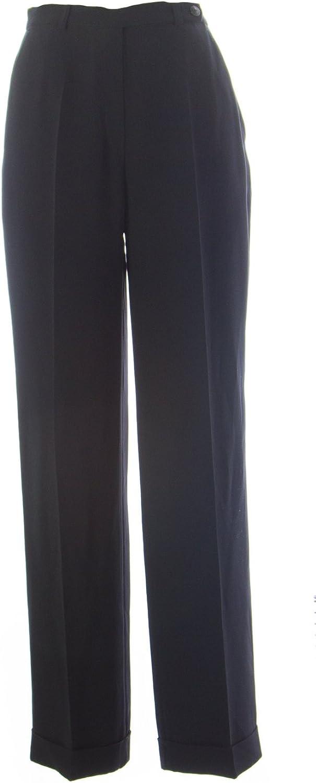 ESOLOGUE Women's Wide Leg Cuffed Pants M Black