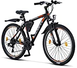 Licorne - Mountain bike Premium per bambini, bambine, uomini e donne, con cambio Shimano a 21 marce, Bambino Uomo, nero/arancione, 26