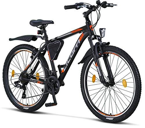 Licorne Bike Effect Premium Mountainbike in 26 Zoll Aluminium, Fahrrad für Jungen, Mädchen, Herren und Damen - 21 Gang-Schaltung - Herrenrad - Schwarz/Orange