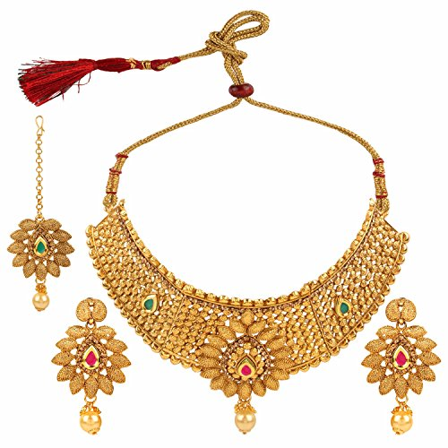 Efulgenz Indian Bollywood Traditional 14 K Gold Plated Kundan Pearl Wedding Choker Necklace Earrings Maangtikka Jewelry Set