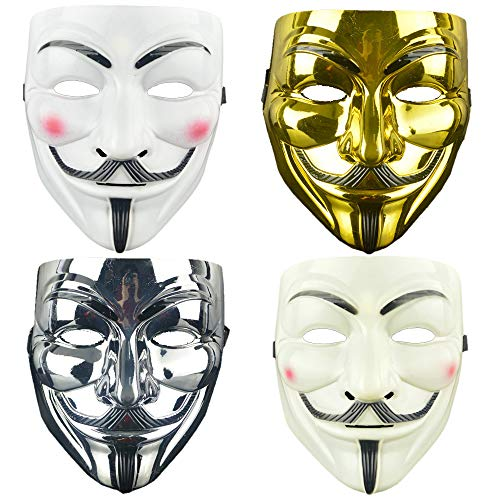 LANWANGJI 4 Pack V für Vendetta Guy Maske Halloween Kostüm Cosplay Party Maske für Halloween Cosplay Party (4 Farben)