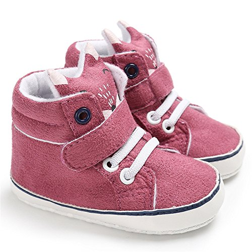 Isbasic Baby Boys Girls High-Tops Sneakers Toddler Soft Sole First Walkers Shoes (12-18 Months, Rose)