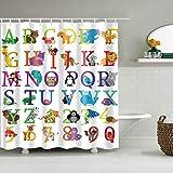 AdaCrazy Kinder dekorative Duschvorhang weiß niedlichen Tier Multicolor Buchstaben & Zahlen 71x71 Zoll hochwertigem Polyester wasserdichtes Gewebe einschließlich 12 Kunststoffhaken