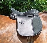 Aces Equine SYNTHETIC HALFLINGER SADDLE 16 INCH WIDE HORSE SADDLE BLACK & BROWN (BLACK)