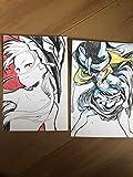二枚セット手描きイラスト 東方プロジェクト 霧雨魔理沙 ポストカードサイズ