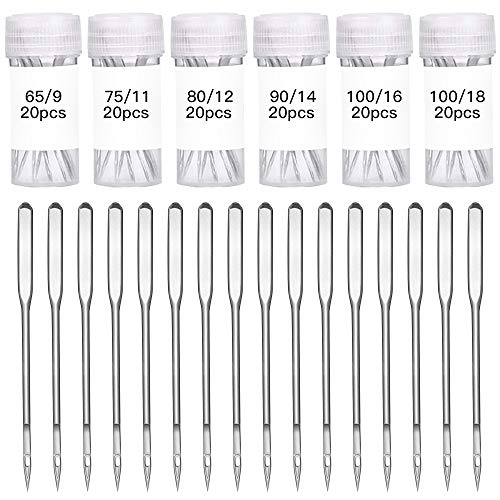 SRunDe 120 agujas universales para máquina de coser de punta regular resistente 65/9 75/11 80/12 90/14 100/16 110/18 para máquina de coser casera (20 unidades de cada tamaño/plata)