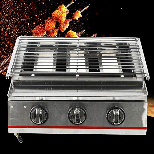 NG NOPTEG Natural Gas Countertop Grill Commercial Countertop Grill Smokeless Barbecue Portable BBQ Gas Grills Natural