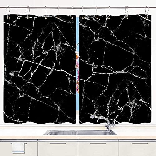 Cortina de Cocina,azulejo inconsútil de la Textura de mármol Negro, Cortinas Opacas térmicas Forradas para Ventana, 55 x 39 Pulgadas, 2 Paneles, Juego