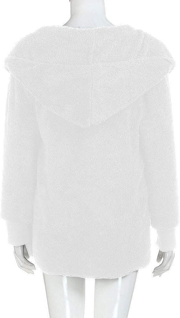 VRTUR Plüschjacke Damen Herbst Winter Jacke Plüsch Übergangsjacke Outwear mit Kapuze Teddyjacke Strickjacke Mantel Kapuzenjacke Coat C-weiß